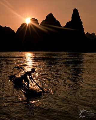 Li River fishing - Photographing Guilin China