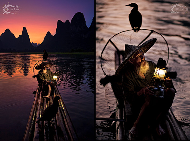 Cormorant Fisherman - Photographing Guilin China